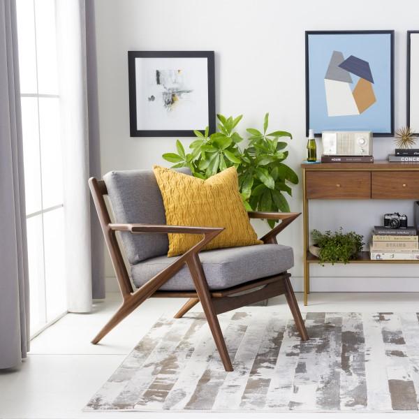 Gray, Brown, Cream Contemporary / Modern Area Rug