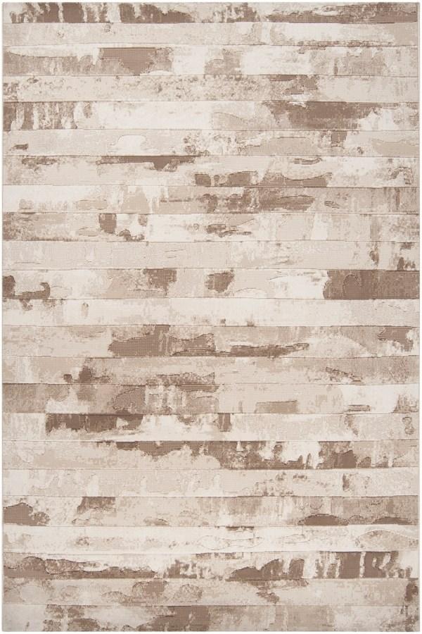 Cream, Brown, Beige Contemporary / Modern Area Rug