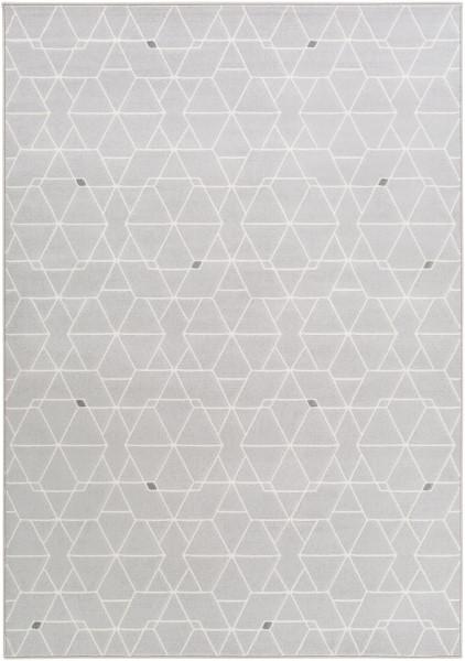 Light Gray, White, Medium Gray Contemporary / Modern Area Rug