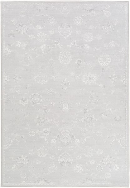 Light Gray, White, Medium Gray Traditional / Oriental Area Rug