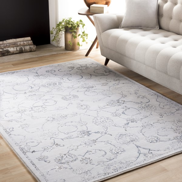 Light Gray, Medium Gray, Denim, White Traditional / Oriental Area Rug
