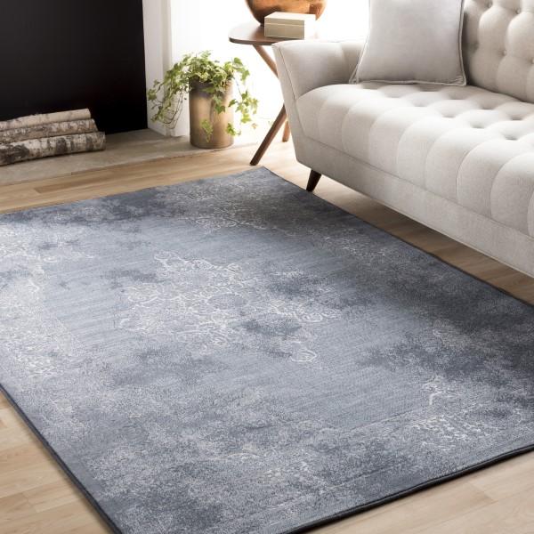 Pale Blue, Denim, Light Gray, White, Medium Gray Vintage / Overdyed Area Rug