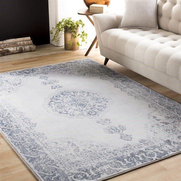 Camel, Navy, White Traditional / Oriental Area Rug
