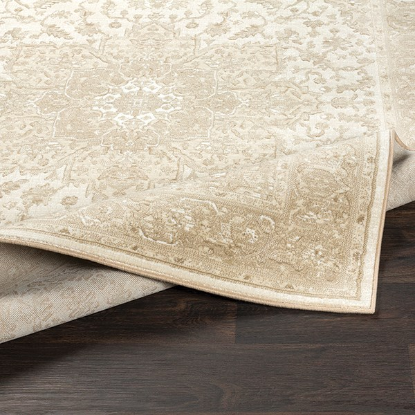Beige, White, Tan Traditional / Oriental Area Rug