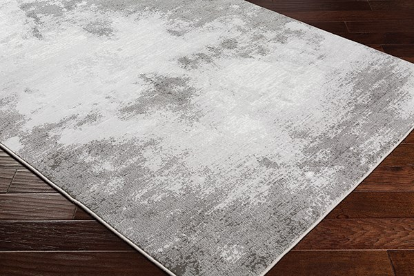 Light Gray, White, Charcoal Contemporary / Modern Area Rug