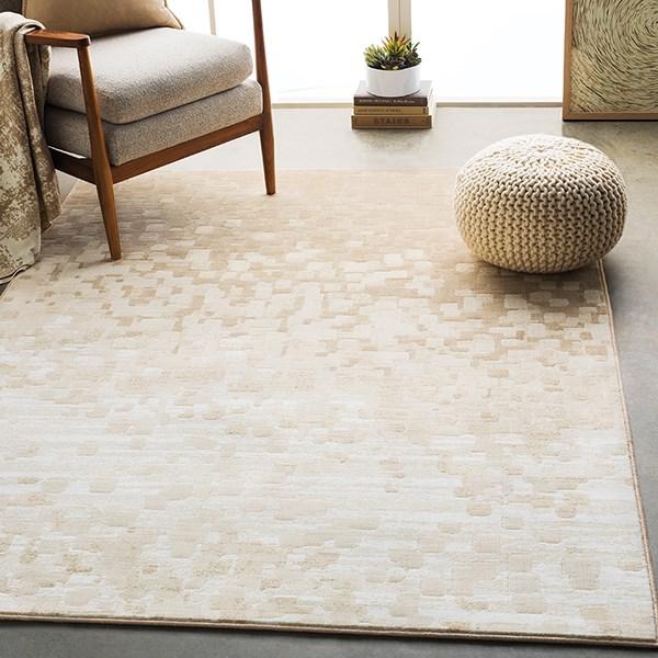 Beige, White, Tan Contemporary / Modern Area Rug