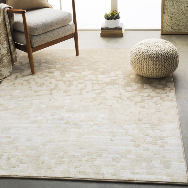 Beige, White, Tan Contemporary / Modern Area Rug