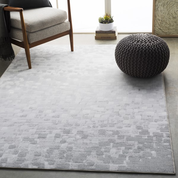 Light Gray, White Contemporary / Modern Area Rug
