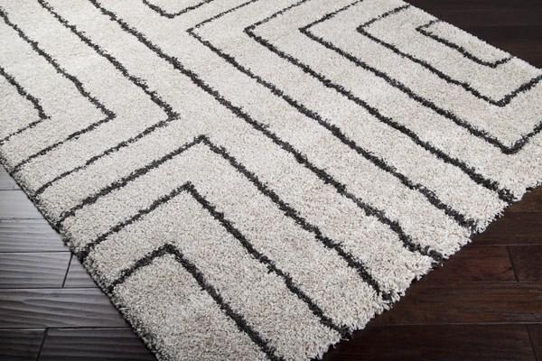 Off White, Charcoal Geometric Area Rug