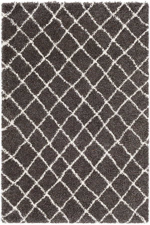 Dark Brown, Charcoal, White Shag Area Rug