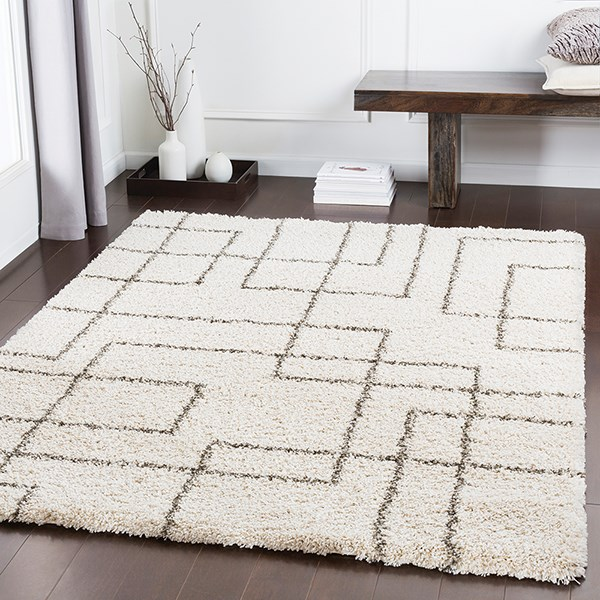 Dark Brown, Light Gray, Khaki Shag Area Rug