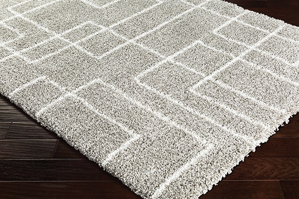 Light Gray, Taupe, White Shag Area Rug
