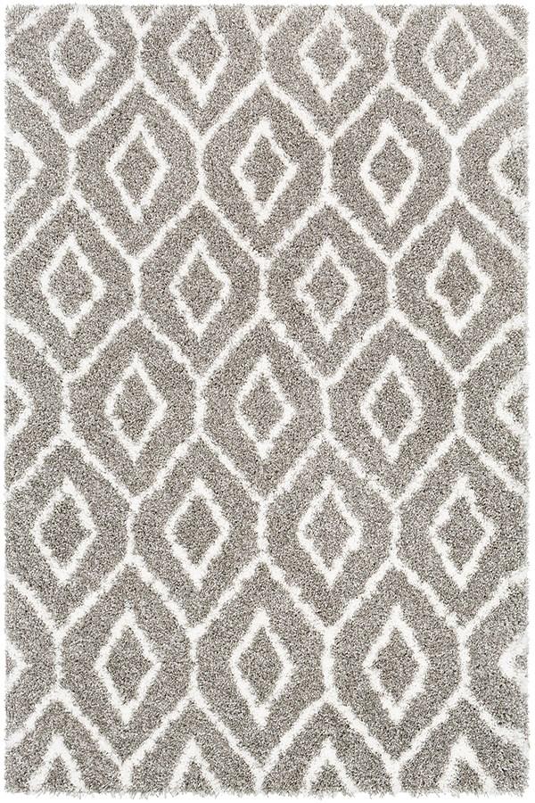 Brown, Light Gray, White Shag Area Rug