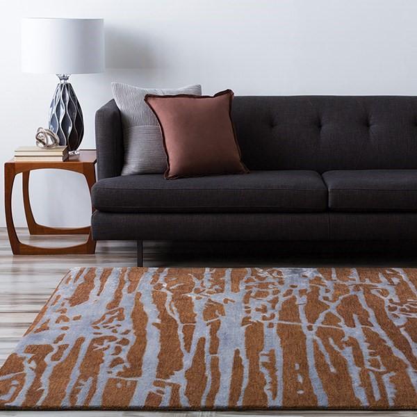 Dark Brown, Teal Contemporary / Modern Area Rug
