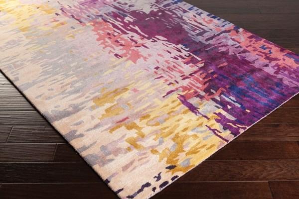 Dark Purple, Camel, Lime, Bright Purple Contemporary / Modern Area Rug
