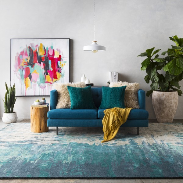 Teal, Sage, Ivory Contemporary / Modern Area Rug