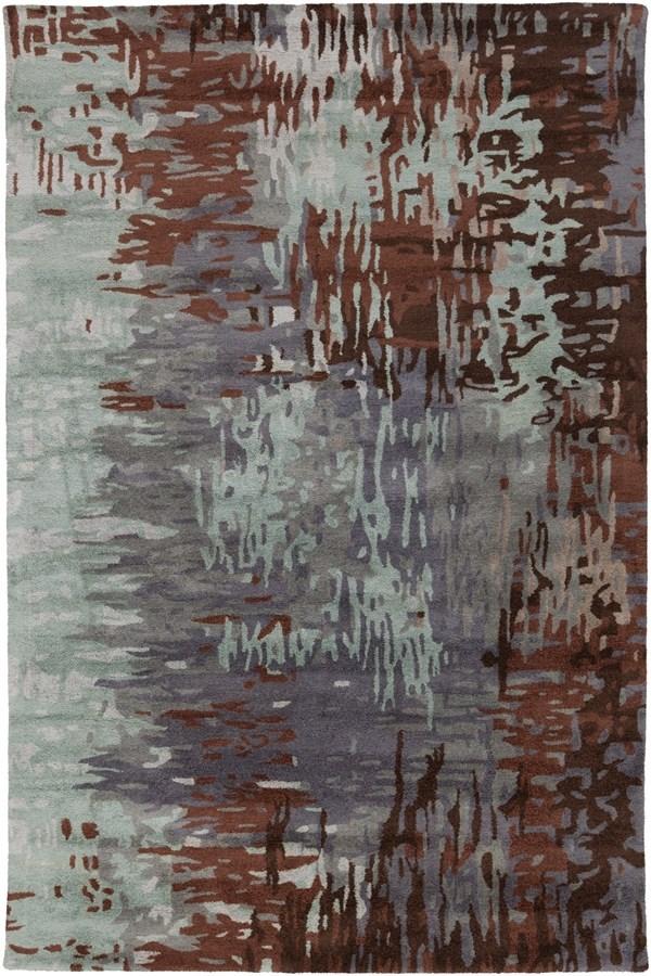 Denim, Dark Brown, Light Gray, Navy Contemporary / Modern Area Rug