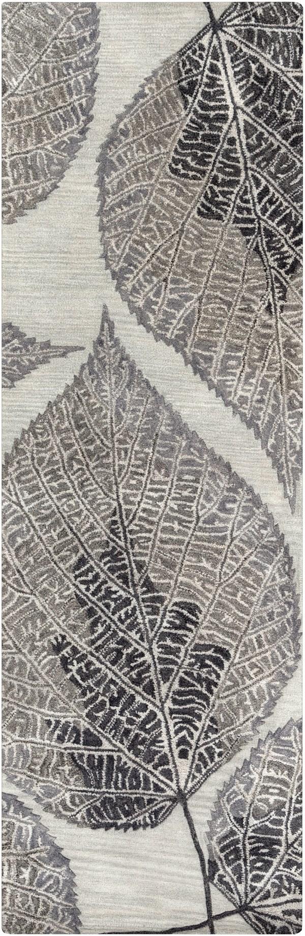 Light Gray, Black, Khaki, Charcoal Floral / Botanical Area Rug