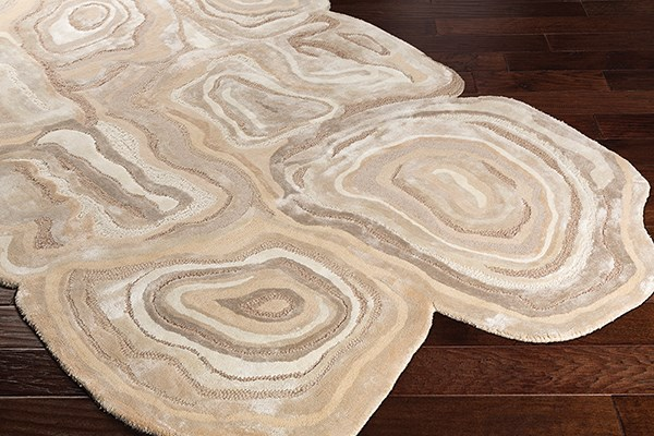 Beige, Wheat, Khaki Abstract Area Rug