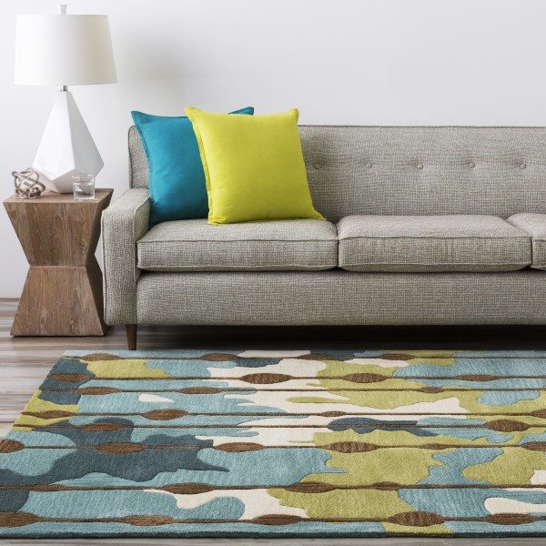 Mushroom, Silver Could, Teal Contemporary / Modern Area Rug