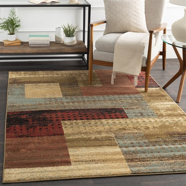 Dark Red, Tan, Charcoal Transitional Area Rug