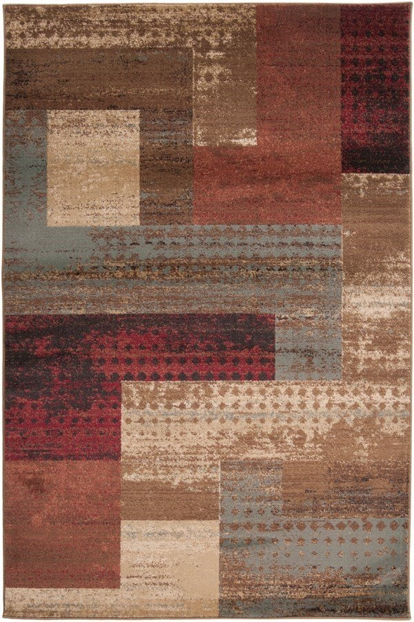 Dark Red, Tan, Charcoal Contemporary / Modern Area Rug