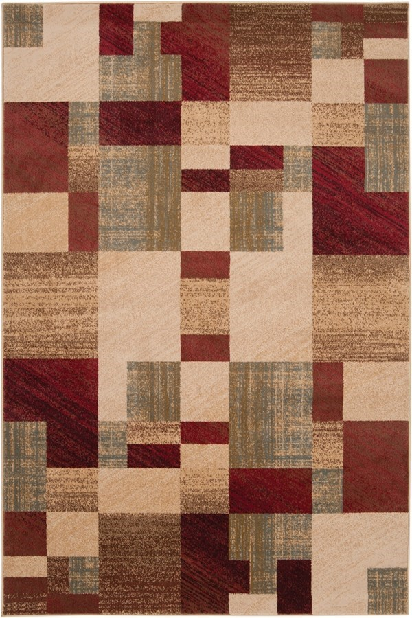 dark Red, Dark Brown, Charcoal, Black, Tan Contemporary / Modern Area Rug