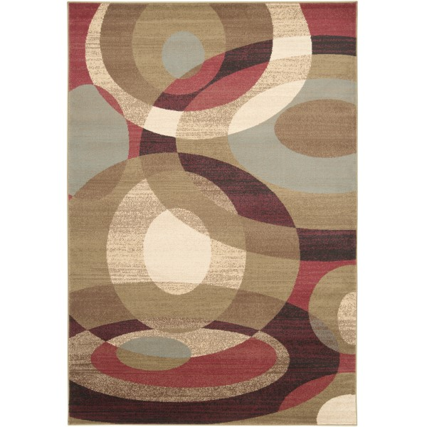 Dark Red, Dark Brown, Tan, Charcoal Contemporary / Modern Area Rug