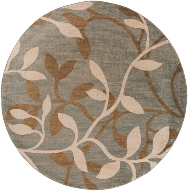 Tea Leaves, Mossy Stone, Camel Floral / Botanical Area Rug