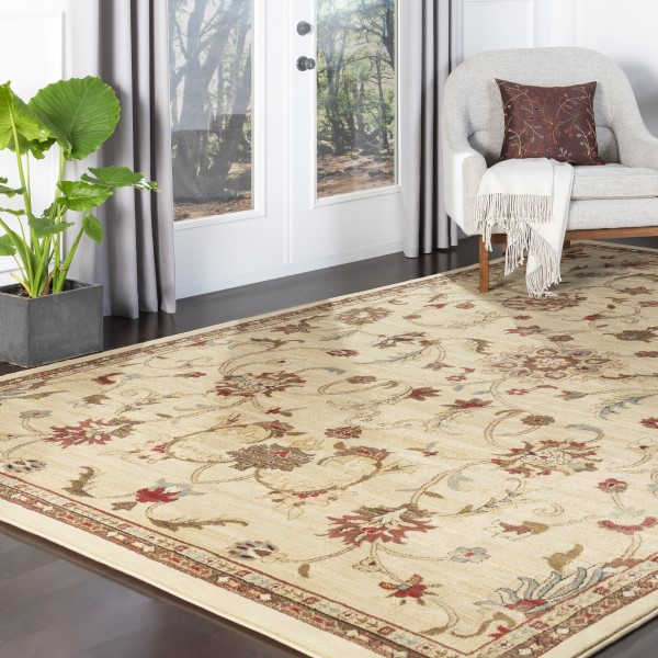 Camel, Mossy Stone, Coffee Bean Traditional / Oriental Area Rug