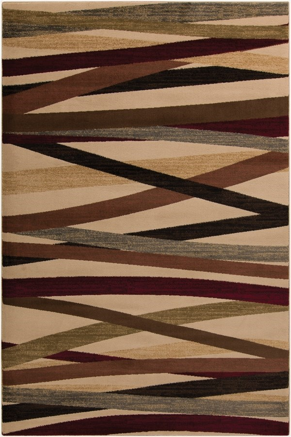 Chocolate, Burgundy, Butter Striped Area Rug