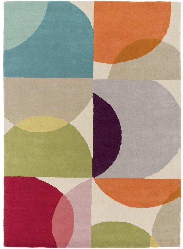 Burnt Orange, Lime, Dark Purple, Teal, Peach Contemporary / Modern Area Rug