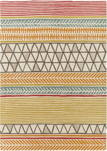Orange, Red, Brown, Mustard, Aqua, Cream (SCI-33) Moroccan Area Rug