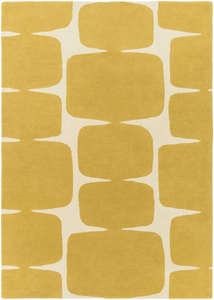 Mustard, Cream (SCI-36) Contemporary / Modern Area Rug