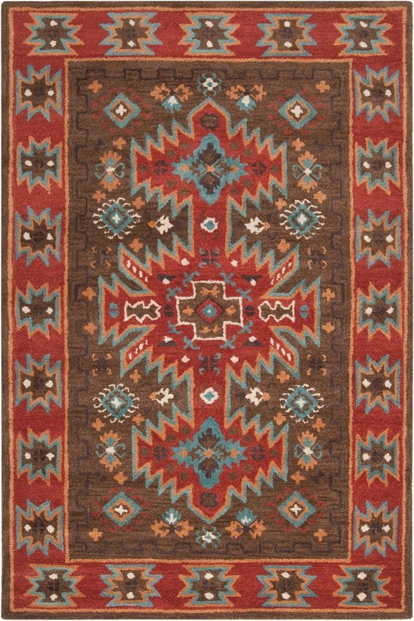 Coffee Bean, Burnt Sienna, Sea Blue Southwestern / Lodge Area Rug