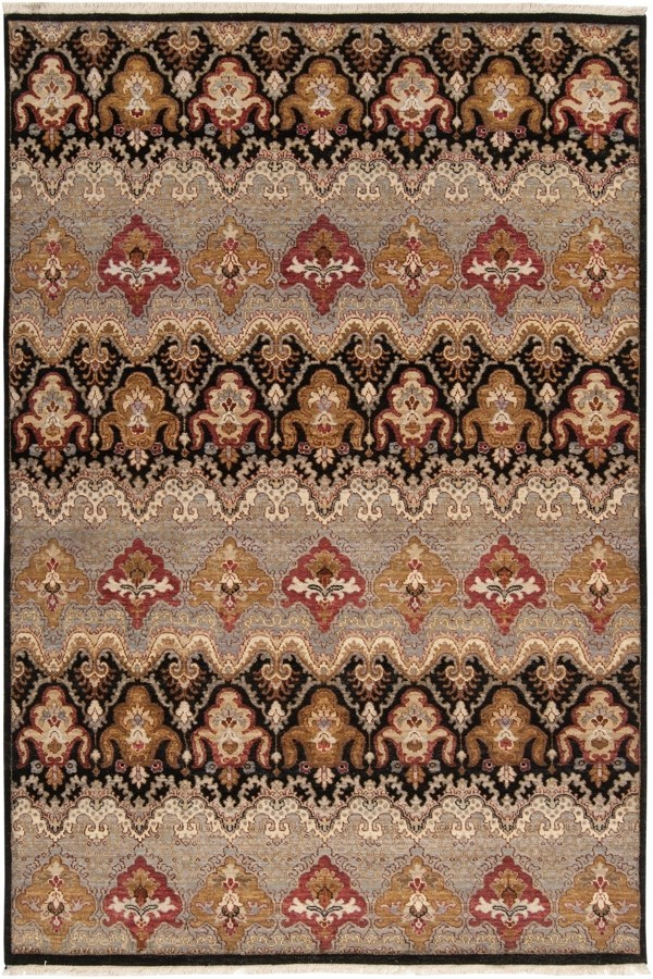 Jet Black, Flint Gray, Brick Red Traditional / Oriental Area Rug