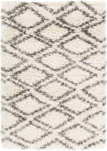 Cream, Grey, Charcoal, Dark Brown (RHA-1036) Shag Area Rug