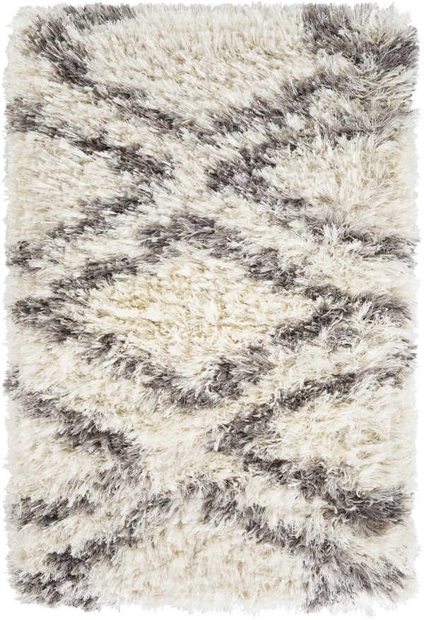 Cream, Grey, Charcoal, Dark Brown (RHA-1036) Shag Area Rug