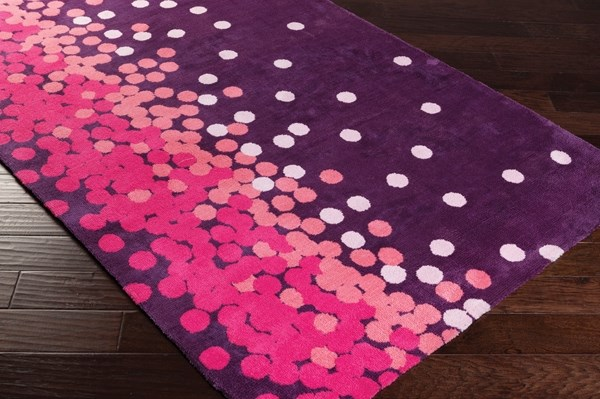 Magenta, Sunset Purple, Parfait Pink Contemporary / Modern Area Rug