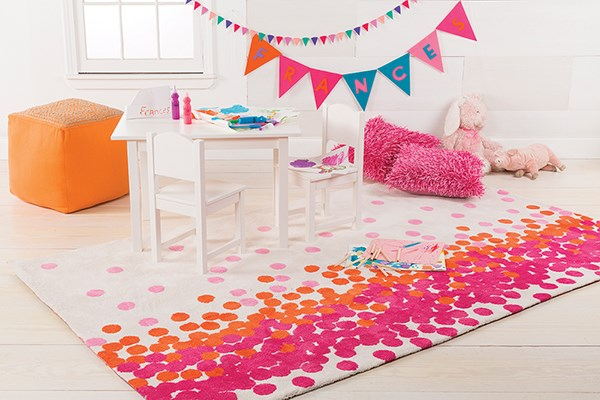 Egret, Fuchsia Pink, Mandarin Red Children's / Kids Area Rug
