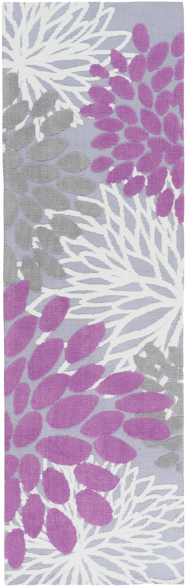 Orchid, Lavender, Grey Floral / Botanical Area Rug