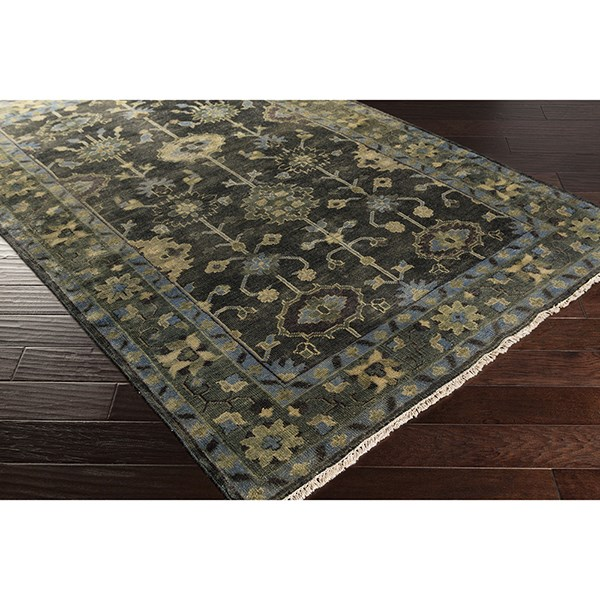 Moss, Forest, Charcoal, Light Gray Traditional / Oriental Area Rug