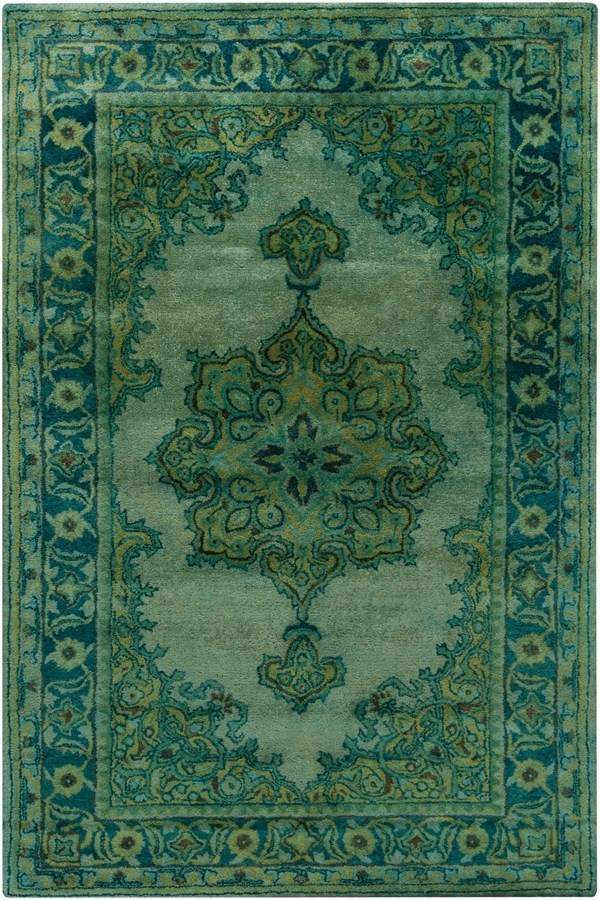 Olive, Teal, Sage, Emerald Traditional / Oriental Area Rug