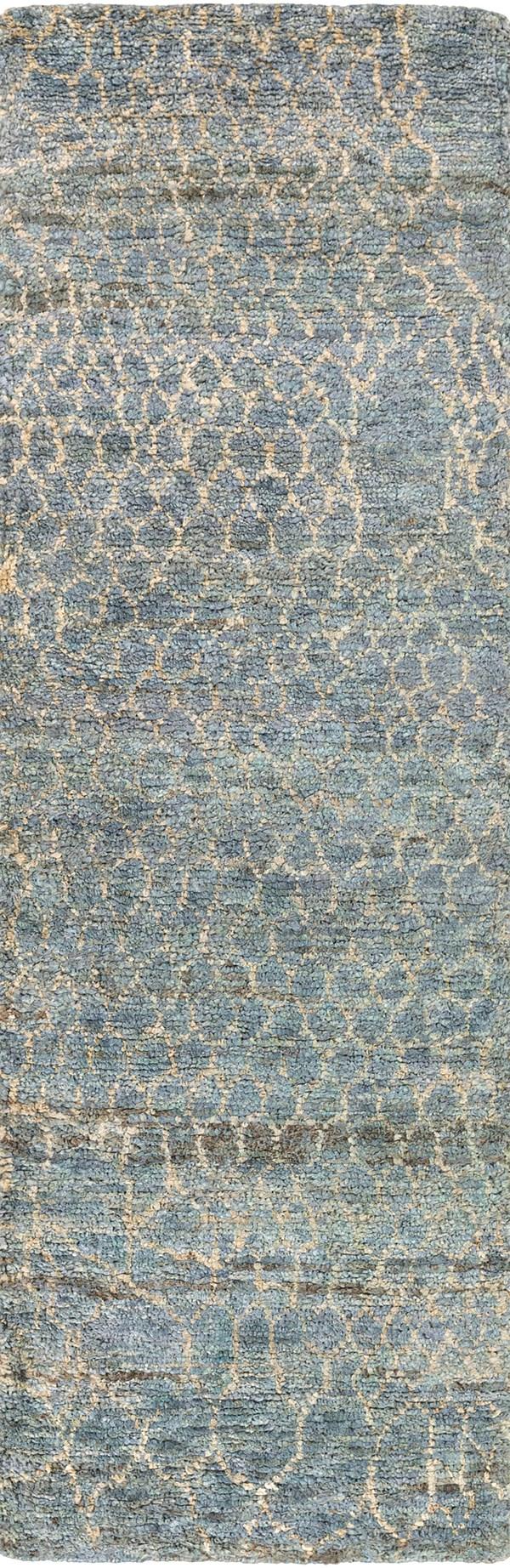 Bright Blue, Denim, Cream Transitional Area Rug