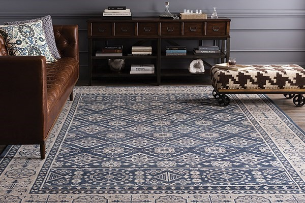 Navy, Gray, Slate Traditional / Oriental Area Rug
