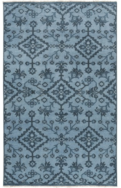 Slate, Black, Teal Traditional / Oriental Area Rug