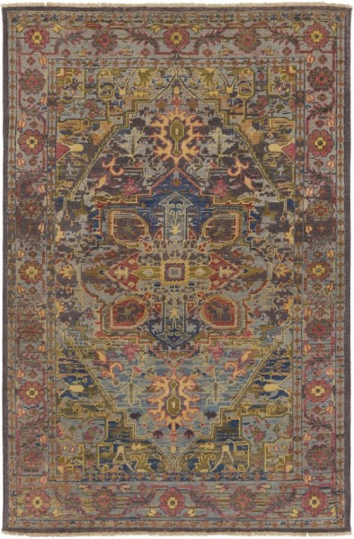 Sage, Bright Purple, Dark Blue Traditional / Oriental Area Rug
