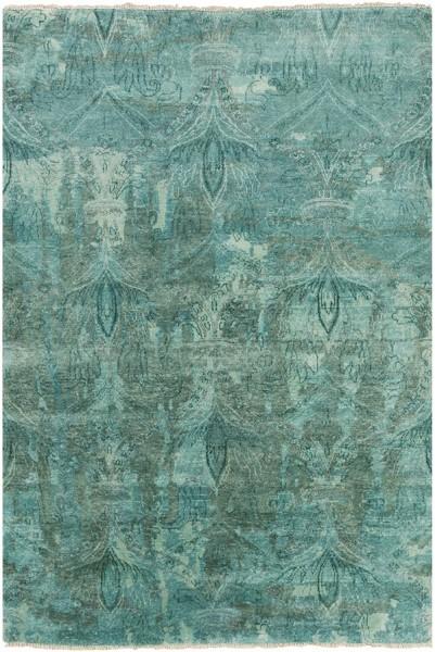 Teal, Aqua, Emerald, Dark Green Traditional / Oriental Area Rug