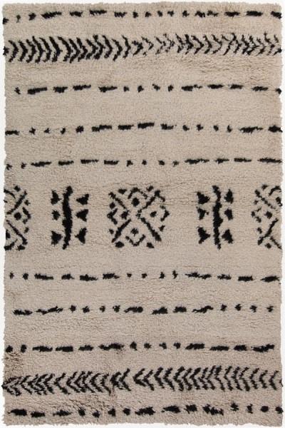 Ivory, Black Moroccan Area Rug