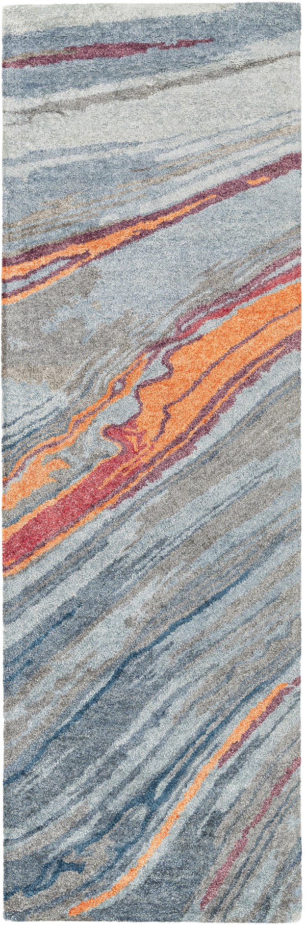 Burnt Orange, Mint, Cherry Contemporary / Modern Area Rug